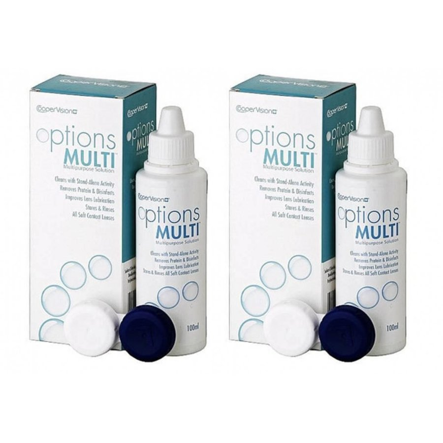 Solutie intretinere lentile de contact Options Multi 2 x 100 ml + suport lentile cadou