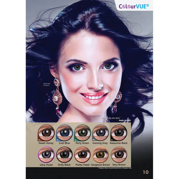 ColourVUE Big eyes Gorgeous Gray - lentile de contact colorate gri trimestriale - 90 purtari (2 lentile/cutie)