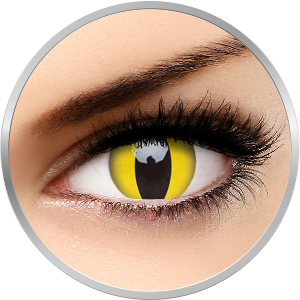 Crazy Cat Eye | lentile de contact colorate galbene anuale - 360 purtari (2 lentile/cutie)