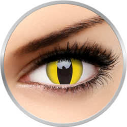MaxVue Vision Crazy Cat Eye | lentile de contact colorate galbene anuale - 360 purtari (2 lentile/cutie)