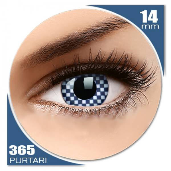 ColourVUE Crazy Chequered - lentile de contact colorate albe anuale - 360 purtari (2 lentile/cutie)