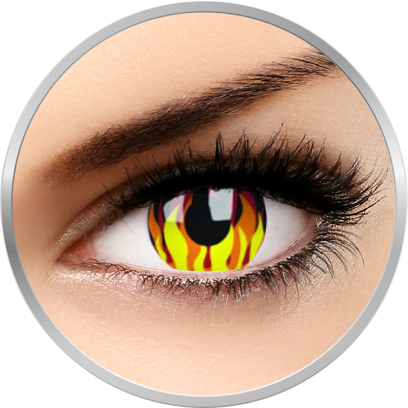 Crazy Flame Hot - lentile de contact colorate galbene anuale - 360 purtari (2 lentile/cutie)