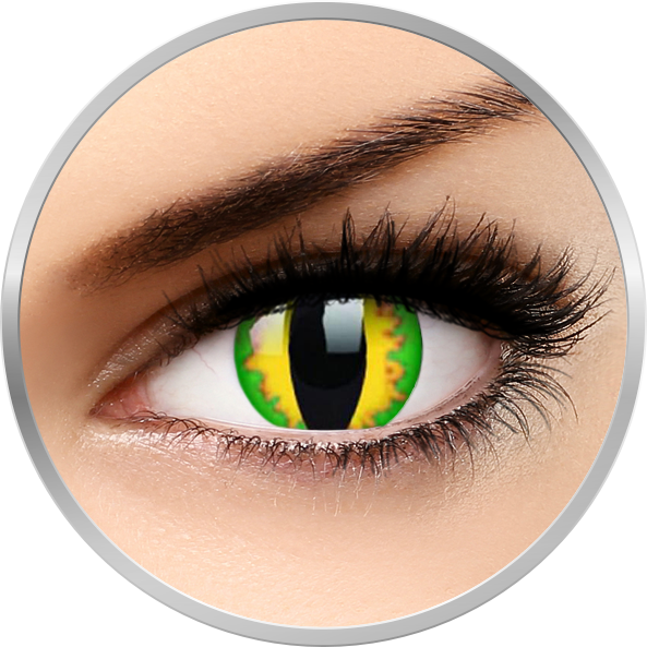 ColourVUE Crazy Green Dragon – lentile de contact colorate galbene anuale – 360 purtari (2 lentile/cutie)