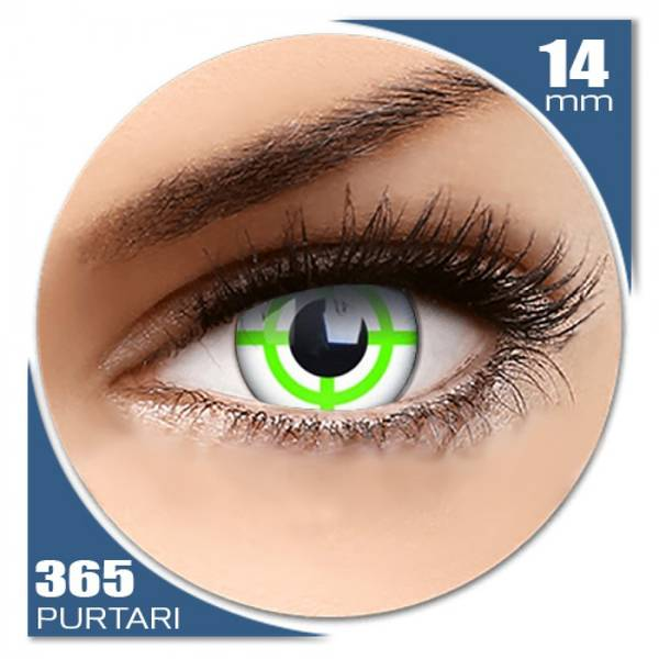 ColourVUE Crazy Green Target - lentile de contact colorate albe anuale - 360 purtari (2 lentile/cutie)