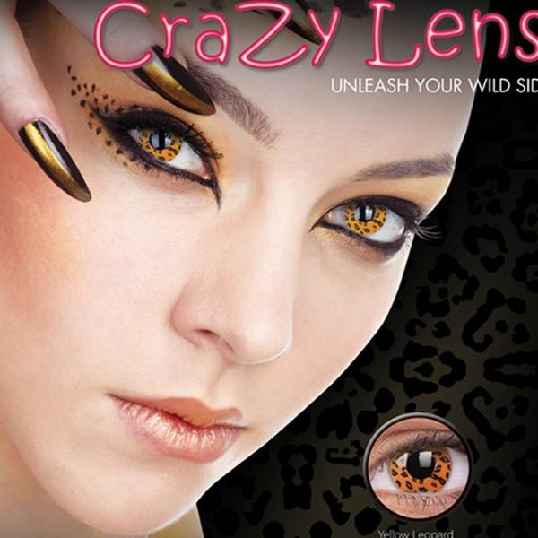 ColourVUE Crazy Yellow Leopard - lentile de contact colorate galbene anuale - 360 purtari (2 lentile/cutie)