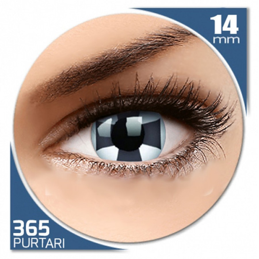 Fancy Black Cross – lentile de contact colorate albe/negre anuale – 360 purtari (2 lentile/cutie)