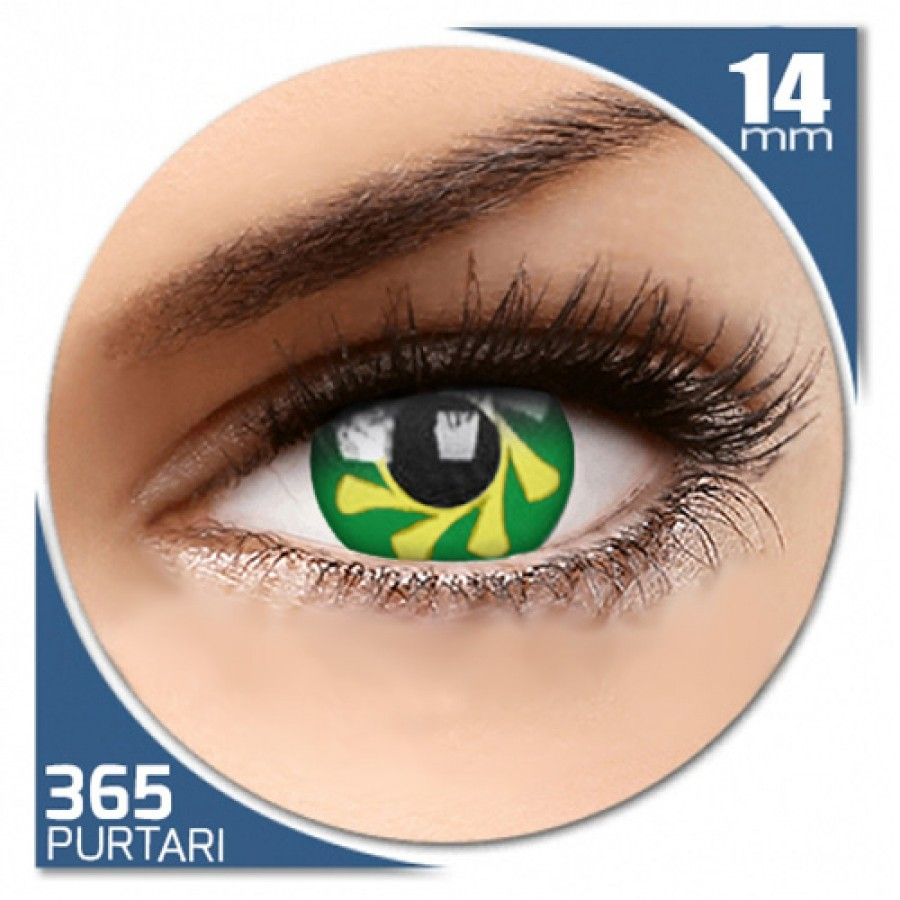 Fancy Green Spin – lentile de contact colorate verzi/galbene anuale – 360 purtari (2 lentile/cutie) de la Phantasee