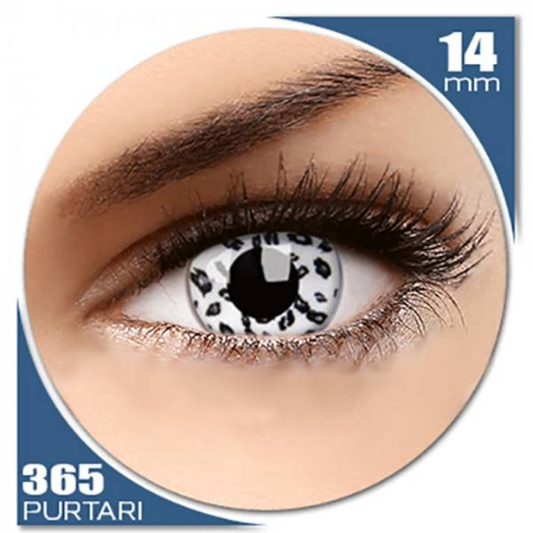 Phantasee Fancy UV White Leopard - lentile de contact colorate albe anuale - 360 purtari (2 lentile/cutie)