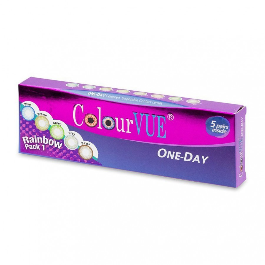 ColourVUE ColourVue Rainbow Pack 1 – lentile de contact colorate multicolore zilnice – 5 purtari (10 lentile/cutie)