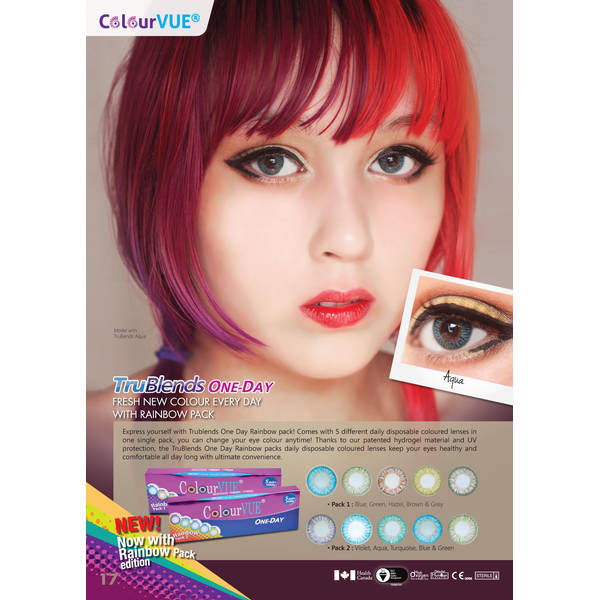 ColourVue Rainbow Pack 1 - lentile de contact colorate multicolore zilnice - 5 purtari (10 lentile/cutie)
