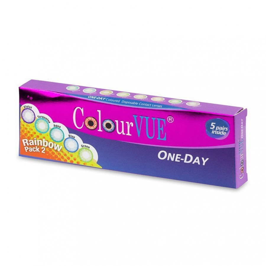 ColourVUE ColourVue Rainbow Pack 2 – lentile de contact colorate multicolore zilnice – 5 purtari (10 lentile/cutie)