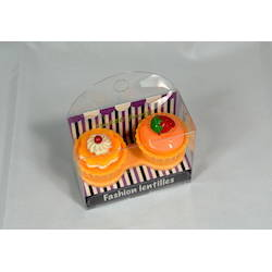 Auva Vision Fashion Lentilles Suport pentru lentilele de contact Cup Cake Orange