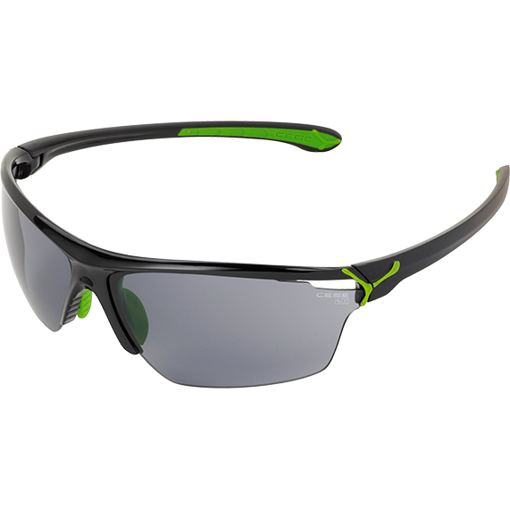 Ochelari de soare sport barbati Cebe CINETIK SHINY BLACK GREEN 1500 GREY FLASH + CLEAR + YELLOW