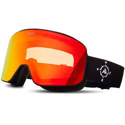 Ochelari de ski NERV COMPASS BLACK-RED MIRROR