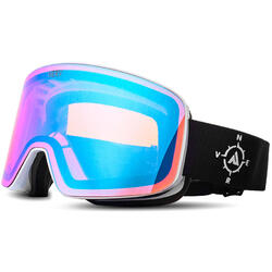 Ochelari de ski NERV COMPASS WHITE BLACK BLUE MIRROR